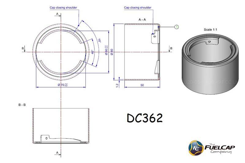 DC362 Stainless Steel Filler Neck (80mm x 50mm)